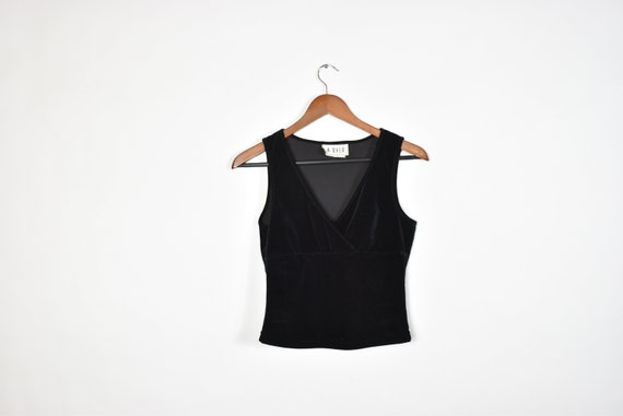 Vintage Sleeveless Black Velvet Crop Top