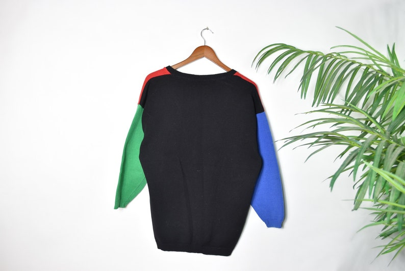 Vintage Color Block Knitted Cardigan Sweater