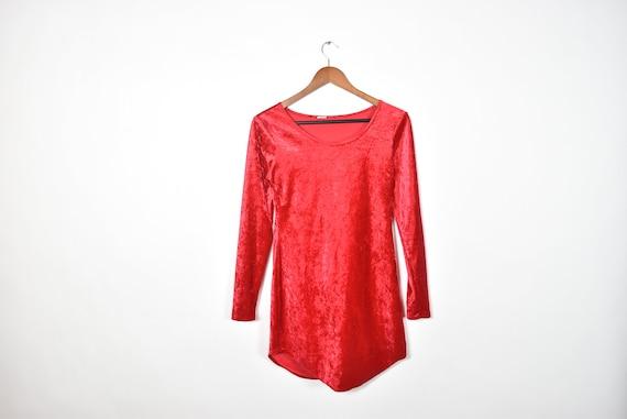 Vintage Crushed Red Velvet Dress