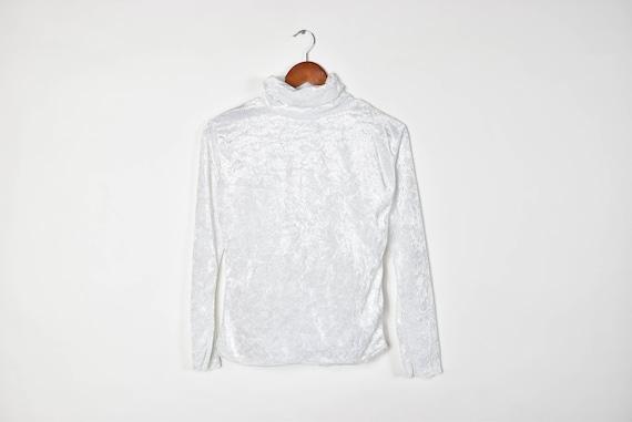 Vintage White Velvet Turtleneck Top by Etsy