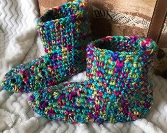Slipper Socks Slippers Crocheted Slippers Bright Colors  Women's Slippers Booties