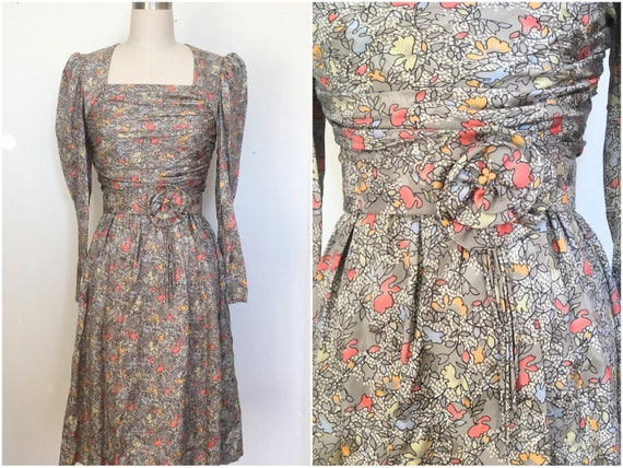 Vintage 40s style Silky Floral Puff Sleeve Dress