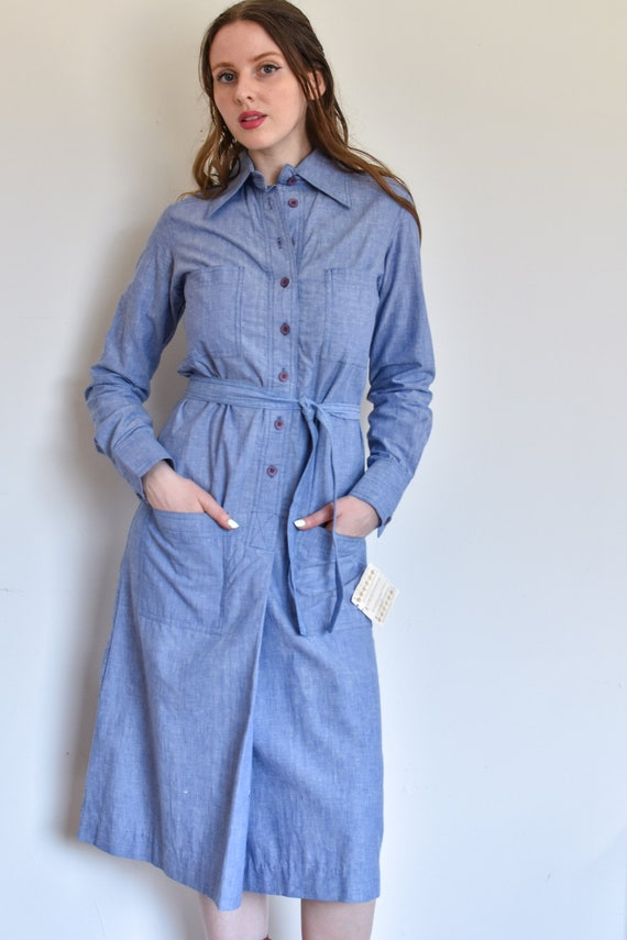 Vintage 1970s Chambray Shirt Dress with Oversized