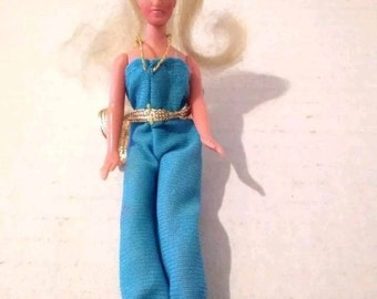 5d43c9bb8c5 Glamour Gals Doll Shara Baby Blue Jumpsuit CPG 1981 Hong Kong Rooted Hair  Vtg