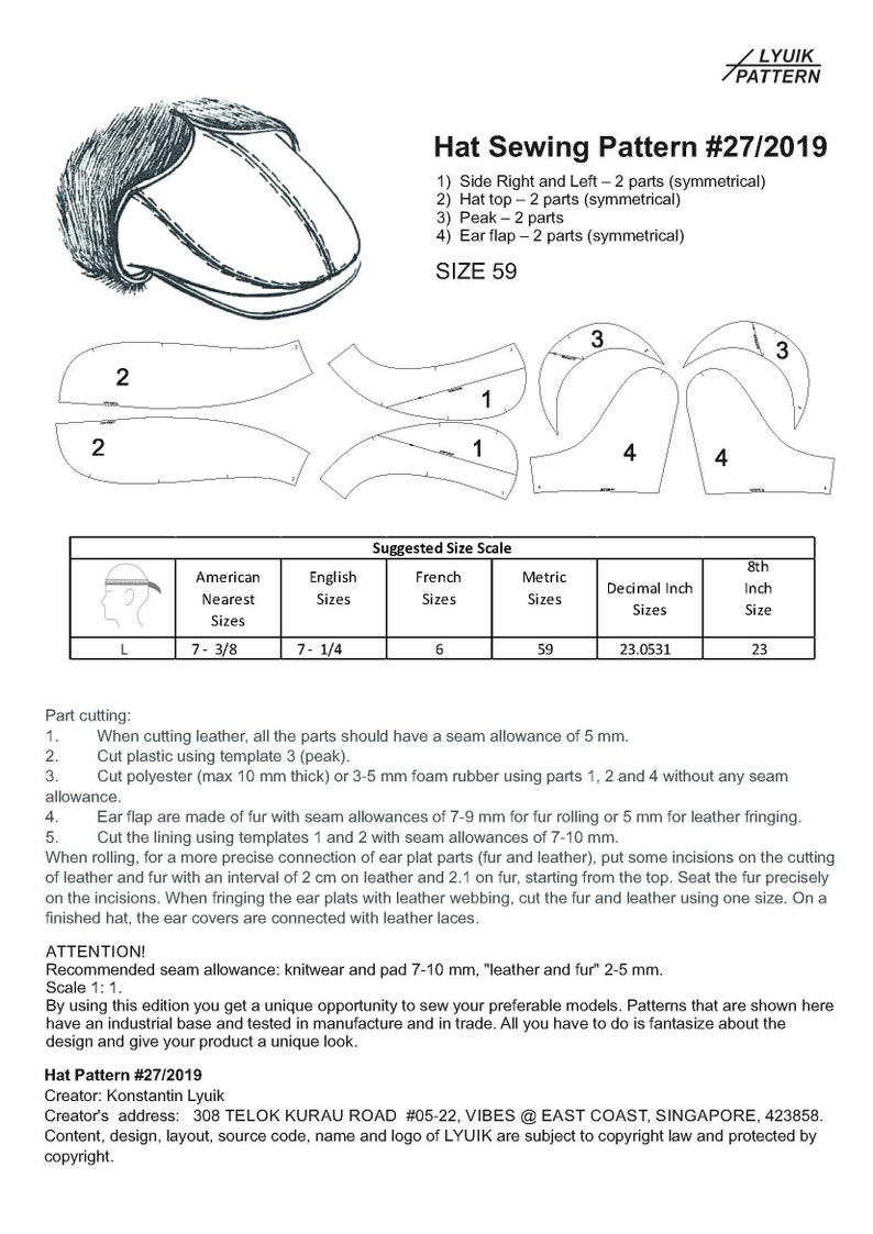 Leather Cap  SEWING PATTERN  Cap Pattern Sewing Pattern Men/'s Hat Pattern  Leather Cap PDF Download