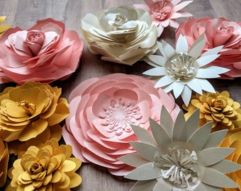 Shimmery Paper Flowers || Metallic Silver Little Flowers, Pink Pearlized Paper Flowers, Gold Scrapbook Quilled Flowers, Eco Garden Bouquet