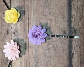 Paper Flower Bobby Pin || Flower Hair Pin, Little Girl Hair Clip, Flower Clip for Girl, Paper Hair Accessory, Little Paper Flowers, Bobbypin