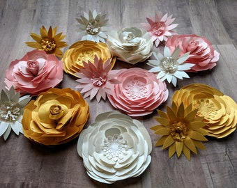 Large Paper Flowers || Set of Paper Flowers, Colorful Paper Flowers, DIY Scrapbook Quilled Flowers, Small Eco Bouquet, Tiny Paper Garden