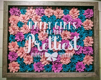 Floral Shadowbox || Paper Flower Frame, Custom Floral Art, Flower Quote, Wedding Gift, Personalized Gift, Small Paper Flowers, Eco-Gift