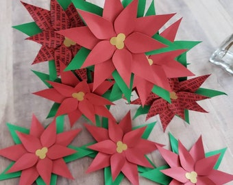 Poinsettia Paper Flowers || Christmas Flowers, Holiday Centerpiece Flowers, Holiday Music Petals, Poinsettia Christmas Carols