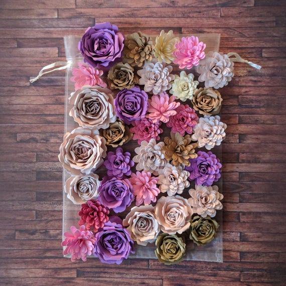 Small Paper Flowers Pastel Little Flowers Wedding Centerpiece Colorful Flowers Scrapbook Quilled Flowers Eco Bouquet Mini Floral Diy