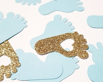 Ideal for Baby Showers 100 Baby Blue Glitter Baby Feet Confetti Announcements
