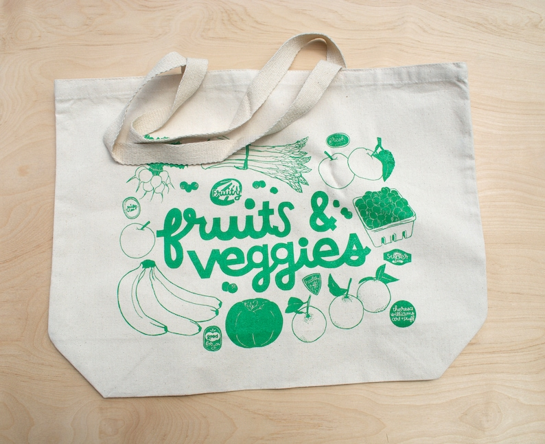 FRUITS /& VEGGIES XL Grocery Canvas Tote Bag