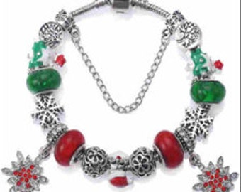 """Christmas 2016 Charm Bracelet European Styling """"Compatible & Inspired By Pandora"""" Snowflake"""