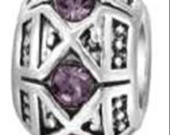 """Home Comfort Collection Birthstone FEBRUARY Purple-Amethyst Charm for Bracelet Euro Styling """"Compatible & Inspired By Pandora"""""""