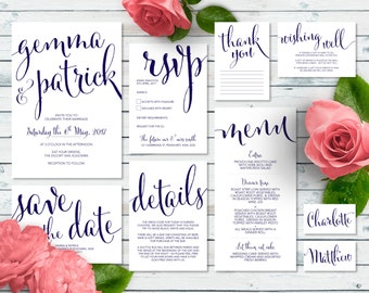 Printable Wedding Invitation Set | Toni Suite | Navy Wedding Invite | Wedding Invitations | Save the Date | RSVP | Wishing Well | Menu