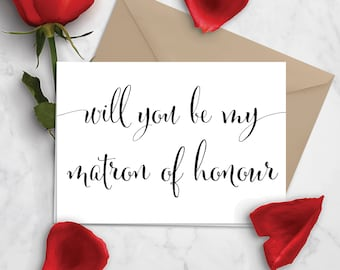 Printable Matron of Honour Card | MoH Proposal | Will You Be My Matron of Honour | Black & White Card | Calligraphy Card | Digital Download