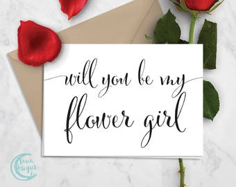 Printable Flower Girl Card | Flower Girl Proposal | Will You Be My Flower Girl | Black & White Card | Calligraphy Card | Digital Download