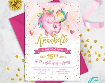 Magical Unicorn Birthday Invitation | 1st, 2nd, 3rd, 4th Girl Birthday Invite | Unicorn Party | Pink Birthday Digital | Printable |
