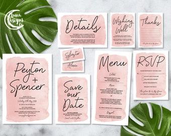Printable Wedding Invitation Set | Peyton Set | Blush Watercolour Wedding Invite | Wedding Invitations | Save the Date | RSVP