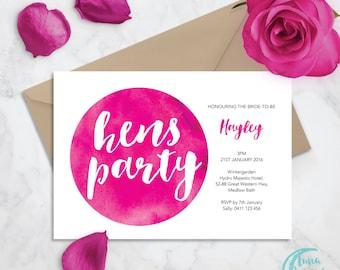 Printable Bridal Shower Invitation | Watercolour Invite | Bride-to-Be | Kitchen Tea | Hens Invite | Hens Party | Bachelorette Party Invite