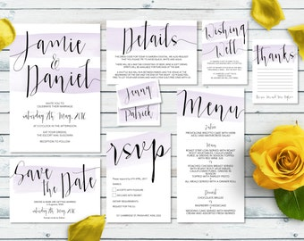Printable Wedding Invitation Set | Jamie Set | Lilac Watercolour Wedding Invite | Wedding Invitations | Save the Date | RSVP | Wishing Well