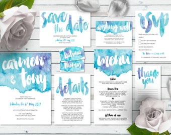 Printable Wedding Invitation Set | Marina Set | Watercolor Wedding Invite | Wedding Invitations | Save the Date | RSVP | Wishing Well | Menu