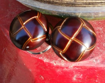 """7/8"""" (22mm) Brown Criss-Cross Double Flare Plugs"""