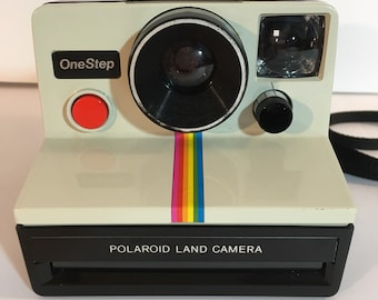 Vintage Polaroid Land Camera One Step Rainbow with 2 flash bars, uses SX-70 Film Flash Bar, 1970s, Instant Camera, untested Clean