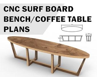 CNC surf board bench plans - coffee table plans - vector files - x-carve - shaper origin - diy cnc router