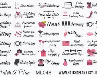 Wedding Planner Stickers   Fits Erin Condren Life Planner   Fits Happy Planner   Weddings   Wedding Stickers   ML048