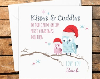 personalised handmade merry happy first 1st christmas daddy dad owl card santa hat love you daughter son father dada kisses cuddles - Merry Christmas Daddy