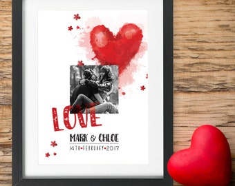 Personalised Valentines Day Gift Photo Frame I Love You Wife Husband Partner