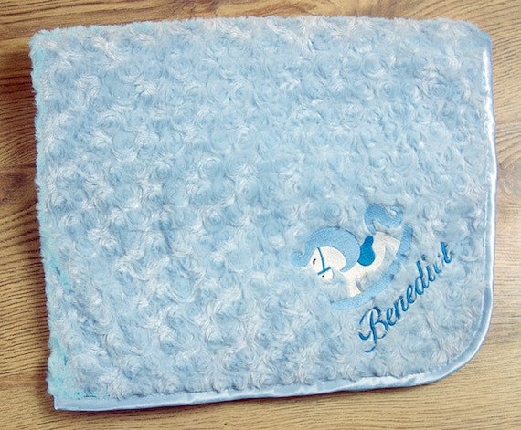 Personalised Embroidered Baby Fleece Blanket for Boys /& Girls Christening Gift