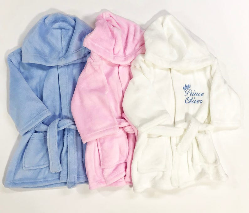 Personalised Embroidered Baby Robe Dressing Gown Towel Hat  96e54045b