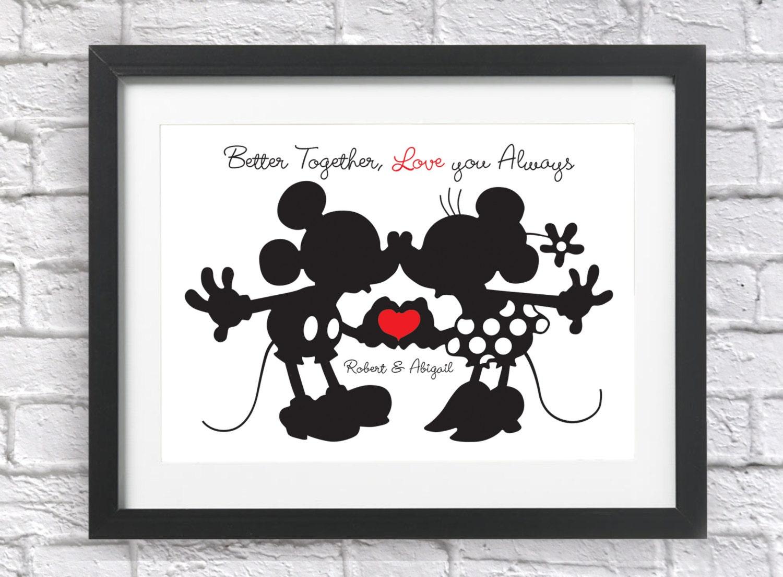 Personalised Gifts Birthday Engagement Him Her Framed Keepsake Mickey /& Minnie