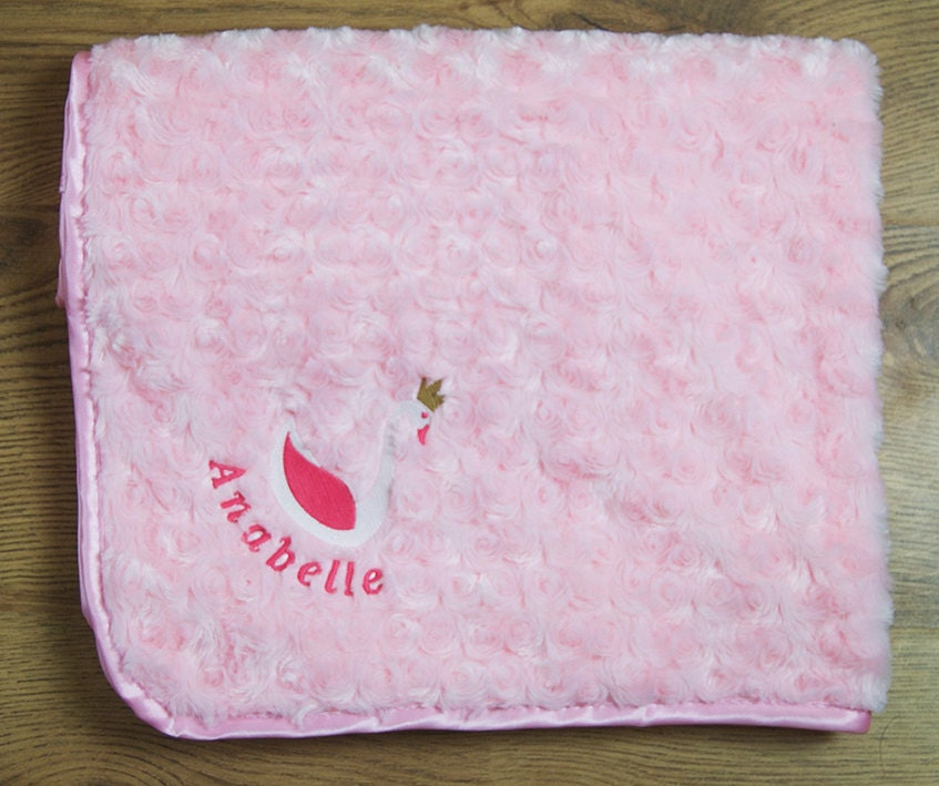 Personalised Embroidered Baby Fleece Blanket Christening Girls Boys New Born