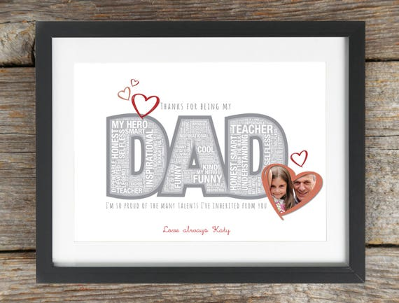Daddy // Dad Present Personalised Photo Print Custom Father/'s Day Gift