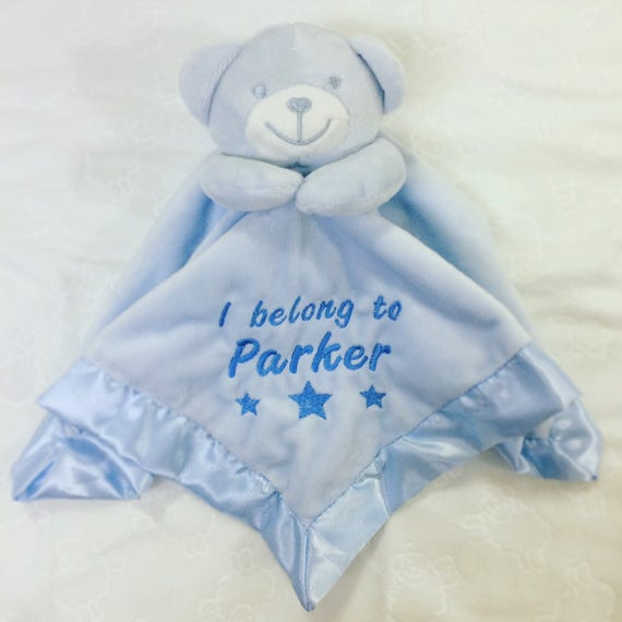 Baby Boy Girl Personalised Blanket Embroidered Name Various Designs Teddy Bear Pink Bear Face