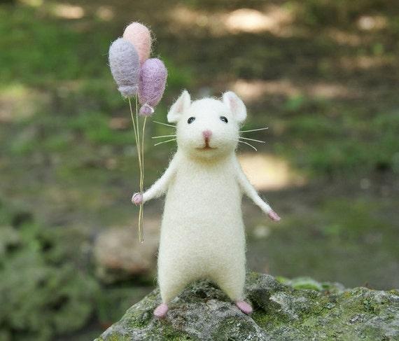 Nadel Gefilzte Maus Süße Maus Weiße Maus Woolen Maus Mit Der Etsy