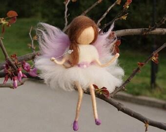 Little Wool Fairy,Sitting fairy, needle felt fairy, Waldorf fairy, Fairy miniature, Waldorf Inspired Wool Fairy, Waldorf Nursery Decor