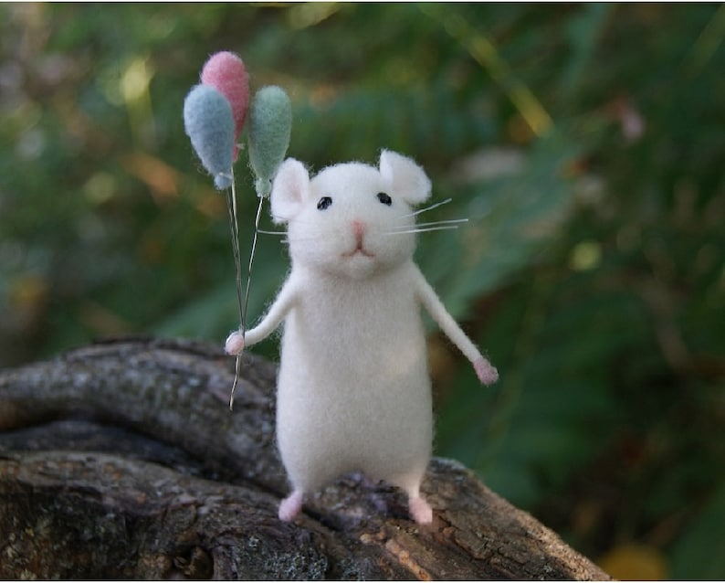 Nadel Gefilzte Maus Weiß Süße Maus Maus Nadel Gefilzt Tier Etsy
