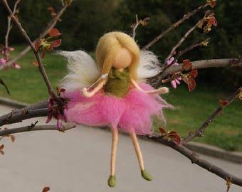 Little Wool Fairy,Sitting fairy, needle felt fairy, Waldorf fairy, Nursery Decor