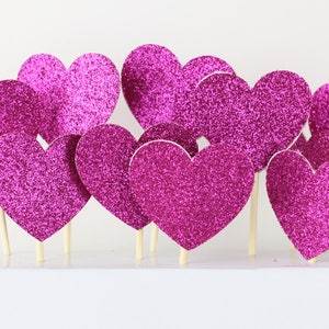 Love   cupcake style   happy birthday cakes valentines glitter heart cake toppers, Glitter   Mini cakes Doubled sided