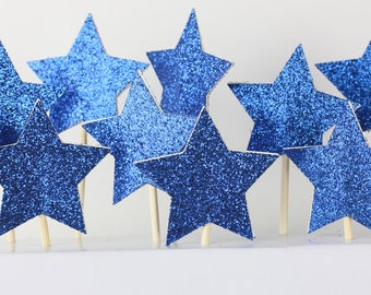 8 x glitter star cake toppers| Mini cakes | cupcake style| blue cake| happy birthday cakes