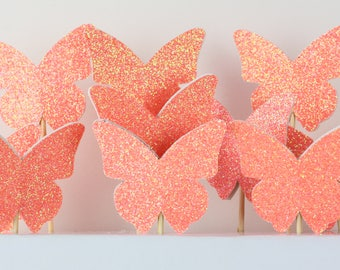 10 x glitter butterfly cake toppers | Mini cakes | cupcake style| coral cake| happy birthday cakes | orange glitter |