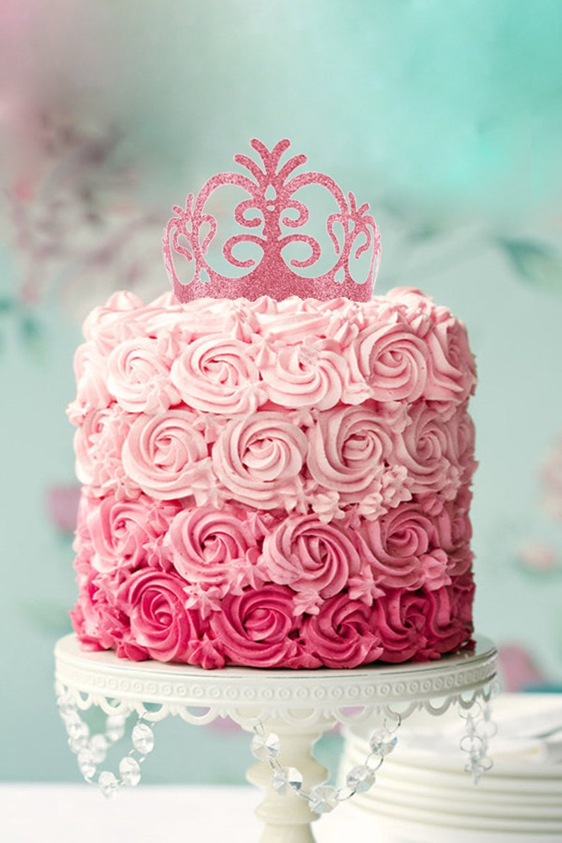 Princess Birthday Cake Flower Topper Crown Queen