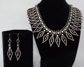 Vintage Oxidized Silver Decorative Necklace & Earrings