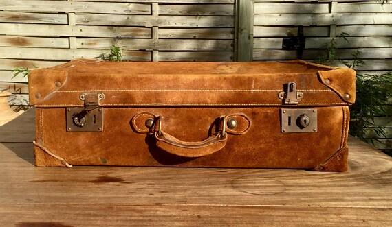 Old nubuck suitcase - Ancienne valise en nubuck