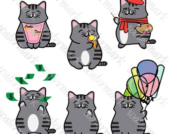 Kawaii cats clipart cats Hand drawn clipart cats PNG cats Digital clip art cats Kawaii PNG Instant Download for Scrapbooking
